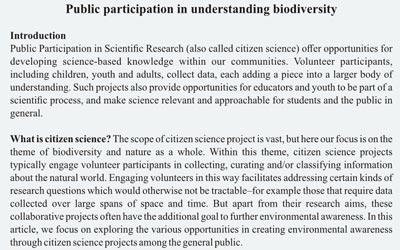 Public participation in understanding biodiversity 2018
